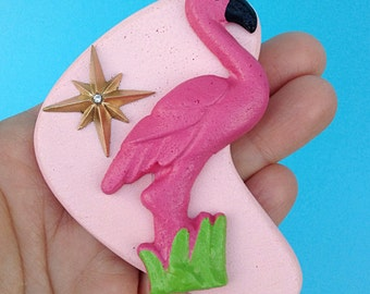 Pink Flamingo - Handmade Atomic Boomerang Brooch - Kitsch Trailer Starburst Custom Culture Mid Century Modern - John Waters Divine Inspired