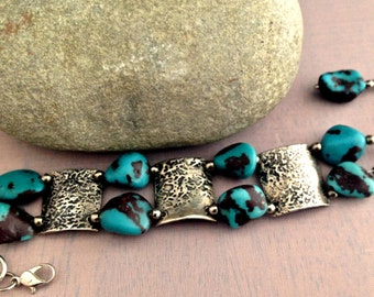 Sale!! Fine Silver and Chalk Turquoise Double Strand Bracelet PMC Precious Metal Clay