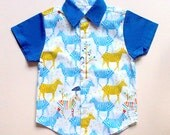 Little Boy Shirt - Arthur Collared Button Shirt (Blue Zebras)