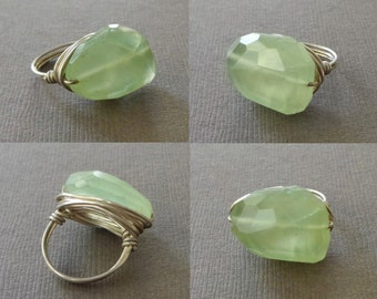 Green Prehnite Ring WIre Wrapped RIng Statement Solitair Ring