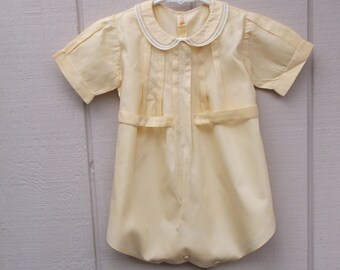 Vintage 40s Pale Yellow Coverall Creeper / Infant Onesie // 18 mos to Toddler boys / girls