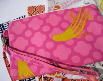 GIFT POUCH 2 pockets, beach wedding, travel pouch, pink wristlet - Octopus