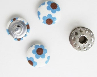Fabric Covered Buttons 3/4 Inch | Small Buttons | Floral Fabric Buttons | Blue Flower Buttons | 19mm Buttons