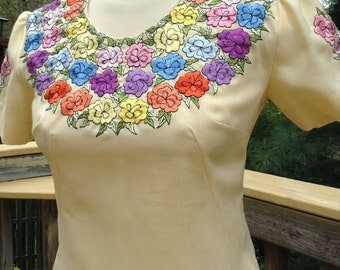 Vintage Pale Yellow Cotton Dress Floral Embroidered Neckline