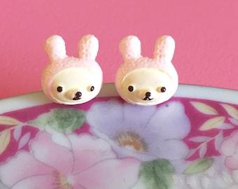 Easter Earrings, Pink Stuffed Bunny Stud Earrings, Bunny Rabbit Earring, Pink Bunny Studs, Easter Holiday Gift Idea, Surgical Steel (SE1)