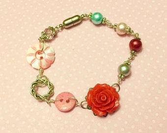 Assemblage Bracelet, Red Flower Bracelet, Vintage Button Jewelry, Pearl Bead Bracelet, Mother of Pearl Bracelet, KreatedByKelly SALE