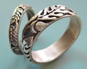 Silver Oak Wedding Ring Set