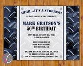 Surprise Birthday Masculine Invite Diamond Plated Blue Black Tool Mechanic Themed Surprise 20th 30th 40th 50th 60th Invitation (239)