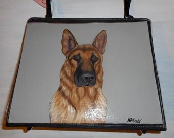 German Shepherd Dog Hand Painted Bag Handbag 3 for the Price of 1