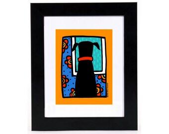 Black Dog Window Watcher 8x10 Art Print