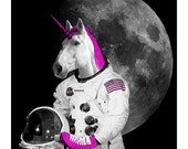 Unicorn Card: Roller Skating Unicorn Astronaut, Unicorn Postcard, Fantasy Unicorn, Boyfriend Card