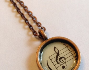 Vintage Sheet Music Necklace - Treble Clef