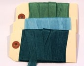 Grass Green, Peacock Teal, Light Blue Seam Binding- Plain or Scrunched, 15 yards, Packaging, Scrapbooking, Shabby Pretty Embellishment