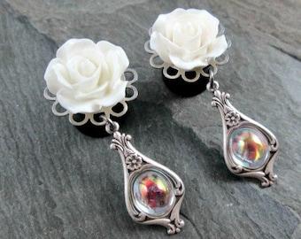 """Victorian Dangle Plugs - 9/16"""" 14mm - Crystal Gem - Choose Rose Color - Wedding Gauges"""