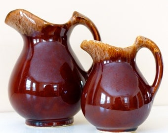 2 Early American Vintage Brown Drip Glaze Creamers-Pitchers- Small and Medium