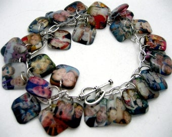 Custom RESIN photo memory charm cha cha bracelet made with your pictures great gift for mom & grandma heirloom ancestor photo album 30 pics