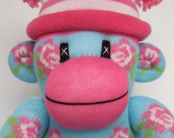 Pretty small turquoise shabby chic rose Sock Monkey (made to order)