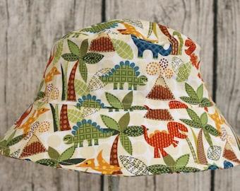 Kids Child Children Reversible Fabric Bucket Hat Dino Dinosaurs Plaid