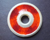 Ring of Fire Wheel Thrown Stoneware Clay and Fused Glass Pendant or Necklace