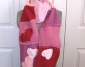 Cashmere Scarf . recycled Cashmere  Sweaters .   LOVE YOU FOREVER 197 . cashmere heart scarf. patchwork scarf