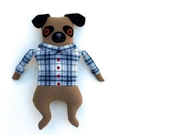 Boy Pug in a Blue Plaid doll plush softie Wool