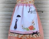Custom Order - Summer Apron Sundress Handpainted Roses in Peach Size3