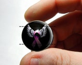 25mm 20mm 16mm 12mm 10mm or 8mm Glass Cabochon - Breast Cancer Pink Ribbon Wings - for Jewelry and Pendant Making