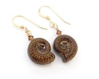 Fossil Shell Earrings, Ammonite Earrings, 14K Gold Fill Earrings, Vintage Fossil Shell Glass, Bronze Fossil Shell Earrings