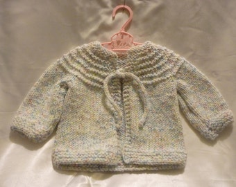 Sweet Acrylic Hand Knit Newborn to 4 Month -12 month Baby Sweater in White and Pastel Heather