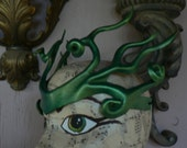 Shimmery Green, Blue, Gold leather head band ornament by faerywhere