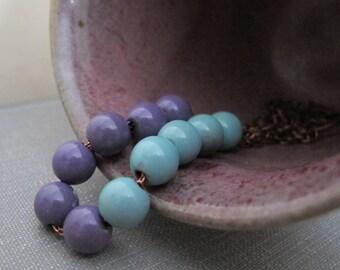 Blue Necklace, Purple Necklace, Enameled Copper, Copper Necklace, Copper, Copper Jewelry, Blue and Purple