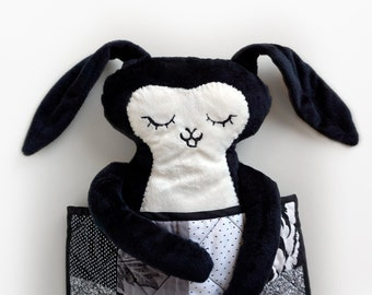 Black and White Rabbit  with Quilt- Super soft minky fabric plush doll and handmade mini quilt