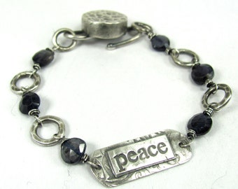 Peace Bracelet, Fine Silver, Iolite