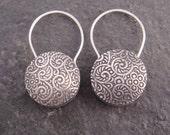 Sterling Silver Padlock Earrings - Round Metal Floral Vine Earrings