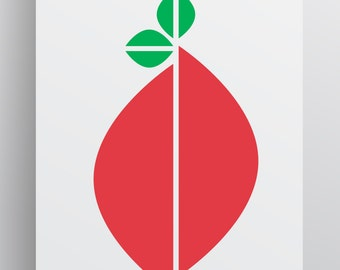 Barry Berry - Istant Download Digital Modern Print - Multiple Sizes - Fruit Wall Art - Print Art - Printable - Red Green Print