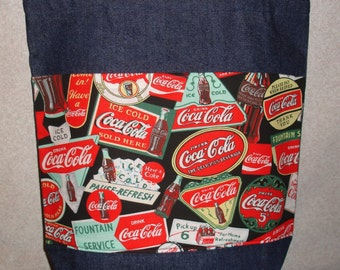 New Large Denim Tote Bag Handmade with Coke Coca Cola Signs Fabric