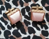 Vintage 1950s Cufflinks Moonglow Pink Square 201534