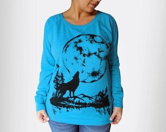M,XL - Blue Pullover Sweatshirt with Moon Wolf Screen print