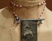 Sweet Girl Tintype Necklace with Key and Rosary