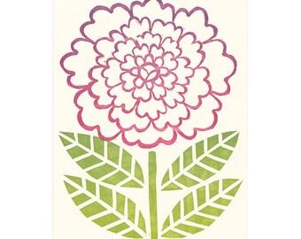 block-printed Zinnia flower greeting card
