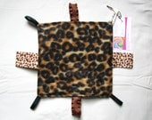 "Crinkle ""Taggie"" Sensory Baby Toy ~ Fleece Leopard Print ~ One of a Kind ~ Travel Size ~ Ready to Ship"