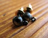 Soot Black Ear Posts with Hanging Loop - 1 pair