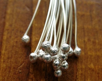 24 gauge Bright Sterling Silver Ball Tipped Head Pins - 20 pieces
