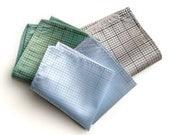 Graph paper pocket square. Silkscreened grid paper mens hanky. Choose white, ice, platinum & more! Architect, engineer, designer gift.