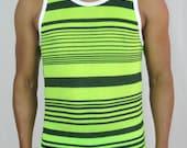 Mens Tank Top Black Green Stripe