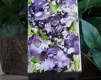 Acrylic and Alcohol ink painting on tile abstract purple flowers home decor
