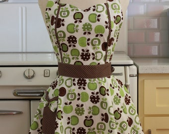 Sweetheart Apron Retro Green and Brown Apples MAGGIE