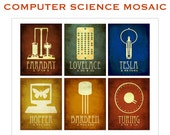 16x20 Mosaic Computer Science Art Print, Faraday, Lovelace, Tesla, Hopper, Bareden, Turing, Computer Programmer Engineer Gift, Techie Art,