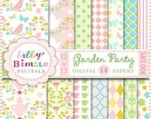 50% off Garden Party digital papers for scrapbooking, cards, invites, flowers, paper, printable download