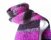 Knit Classic Scarf Pink Black Grey Ombre Stripe Scarf, Vegan Rib Knit Men Women Teen FELIX Ready to Ship - Winter Fashion Valentine's Gift